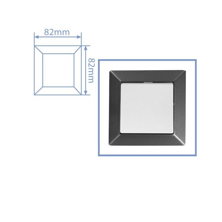 Placca per presa a incasso 1 posto color grigio antracite 82x82cm.