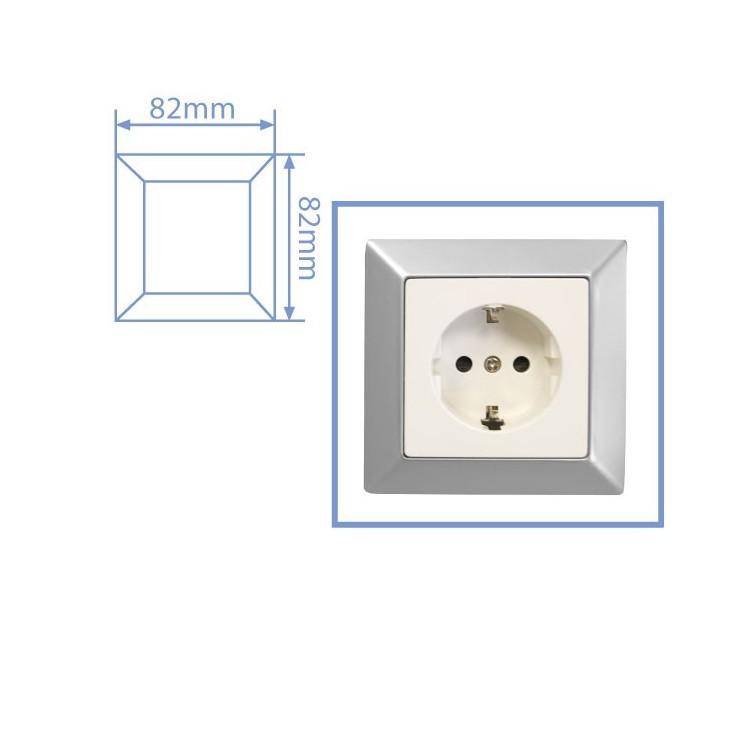 Placca per presa a incasso 1 posto color argento opaco 82x82cm
