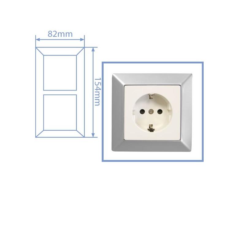 Placca per presa a incasso 2 posti color argento opaco 82x154cm