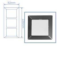 Placca per presa a incasso 3 posti color grigio antracite 82x226cm.