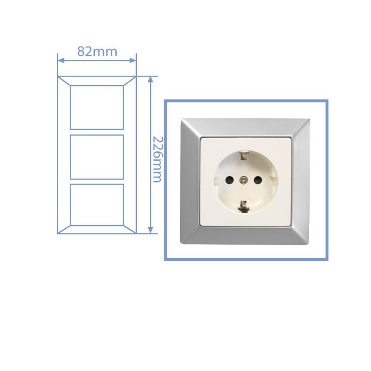 Placca per presa a incasso 3 posti color argento opaco 82x226cm.