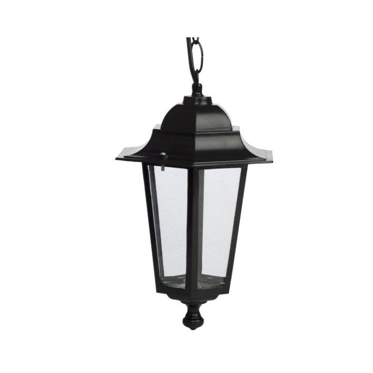 Luce a sospensione per giardino 6 lati in alluminio E27 60W 230V IP44 color nero
