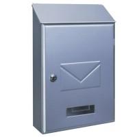 Casella di posta da esterno color nichel satinato. Capacità per DIN A-4