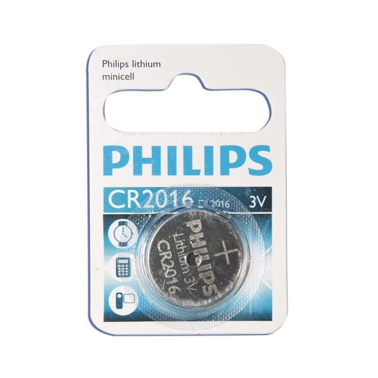 Scatola da 10 blister pila a bottone - Lithium Philips CR2016 3V - Blister 1 unità