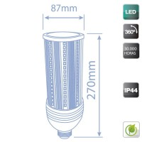 Lampada industriale LED E40 60W 7200 lumen, Luce fredda