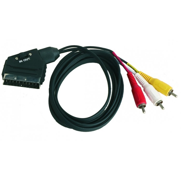 Collegamento Audio e stereo - video . Euroconnettore SCART maschio a maschio 21 PIN RCA3 IN (entrata)