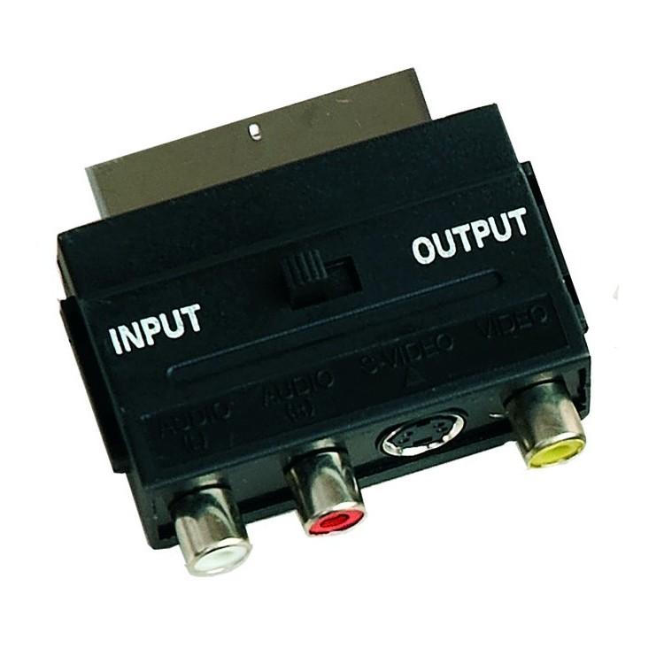 Adattatore connessione euroconnettore SCART-3RCA + mini DIN 4 pins