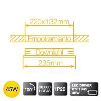 Downlight LED Cob a incasso 45W 2580LM - 4200K