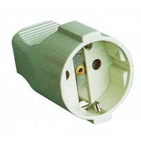 Presa volante bipolare schuko cavo di ingresso dritto Ø4,8 mm in termoplastica