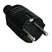 Spina bipolare di gomma nera con lato e ingresso cavo TT dritto o 4,8 mm