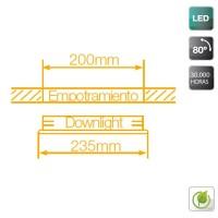 Faretto downlight LED da incasso 18W 1300 lumen - 4200K