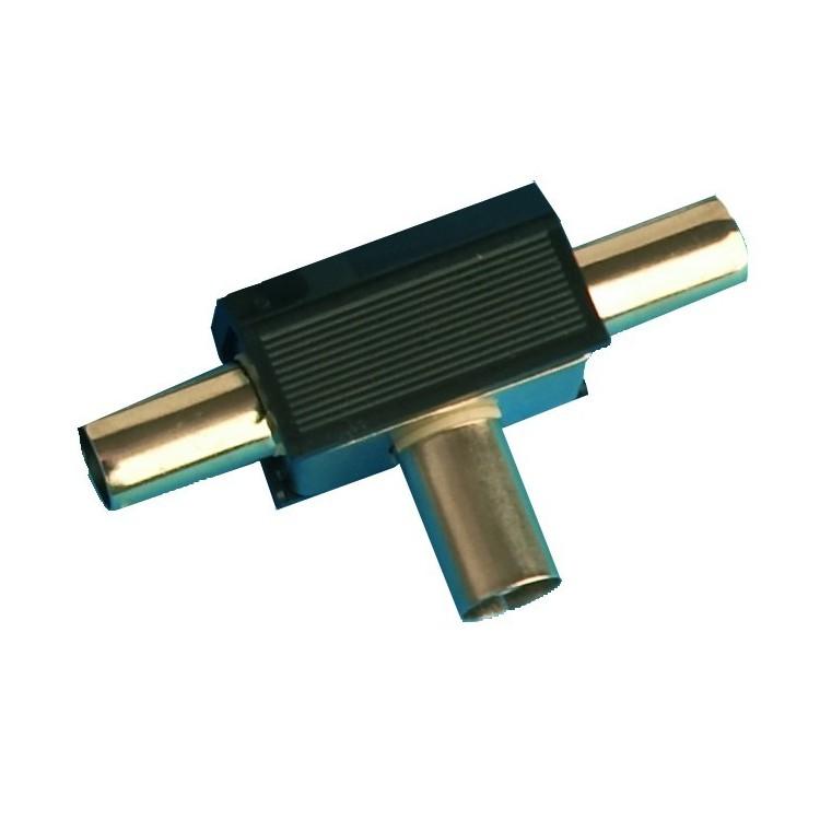 Distributore / accoppiatore antenna TV a croce. Entrata femmina 9.5mm. Uscita 2 maschi Ø9.5mm color nero