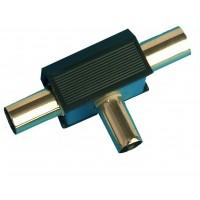 Distributore / accoppiatore antenna TV a croce. Entrata maschio 9.5mm. Uscita 2 femmine Ø9.5mm color nero