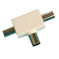 Distributore / accoppiatore antenna TV a croce. Entrata femmina 9.5mm. Uscita 2 maschi Ø9.5mm color bianco