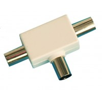 Distributore / accoppiatore antenna TV a croce. Entrata maschio 9.5mm. Uscita 2 femmine Ø9.5mm color bianco