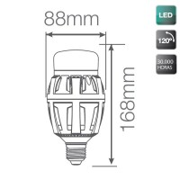 Lampada LED industriale E40 70W 7000LM, 5000K 120º