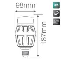 Lampada LED industriale E40 100W 10000LM, 5000K 120º