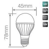 Lampadina LED 12V sferica 4W 320LM 6000K 120º