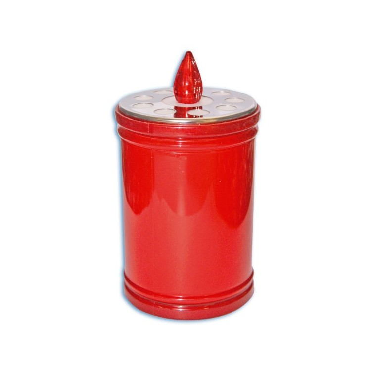 Candela rossa decorativa luminosa 1 LED. Funziona con 2 Batterie R14 (C)