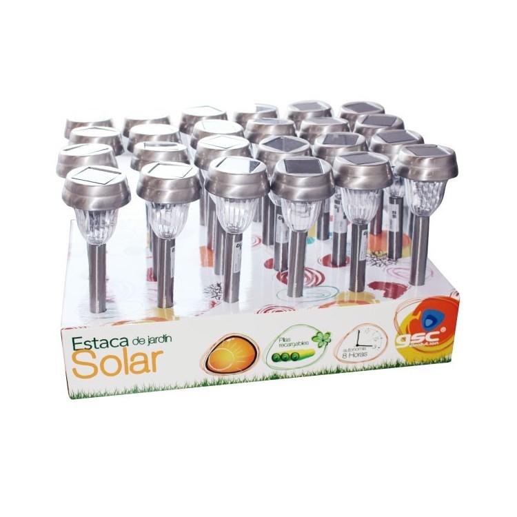 Espositore da 24 paletti solari da giardino con 1 LED luce bianca, batteria R06 (AA), 1.2V / 300mAh
