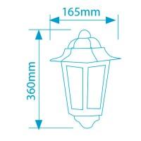 Lampada da parete per giardino esteriore 3 lati in alluminio tipo lanterna E27, 60W. 230V IP44 color nero