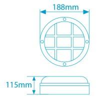 Lampada applique da parete esteriore rotonda in alluminio E27 IP44 color bianco