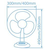 Ventilatore girevole da tavolo con griglia di protezione 55W 30cm 3 velocità