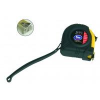 Misura di nastro gommato, stop, pulsante con magnete in punta. 8 metri.
