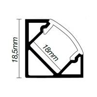 Profilo di alluminio ad angolo per striscie LED - 1 Mt.