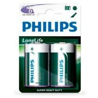 Scatola da 12 blister da 2 pile saline Philips 20 (D) - batterie