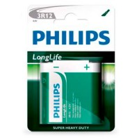 Scatola 12 blister pack di 1 unità di batterie saline Pack 12-4, 5V PHILIPS 3R