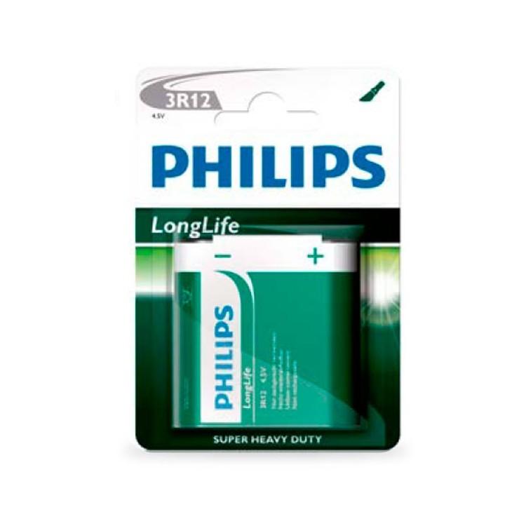 Scatola da 12 blister da 1 pila salina piatta Philips 3R12 - 4.5V - batterie
