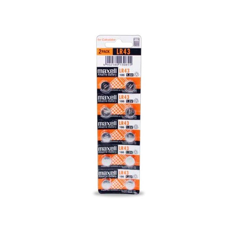 Scatola da 10 pile alcaline Maxell LR43 1.5V - Blister da 10 batterie