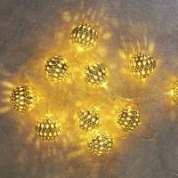 Catena natalizia di palline dorate LED 3000K 1m a Pile