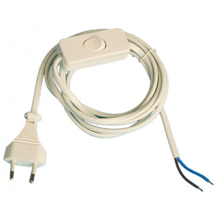 Cavo connessione filo elettrico piano con interruttore 2A 250V, nero