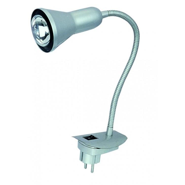 Lampada flessibile da parete con spina incorporata E14 color grigio