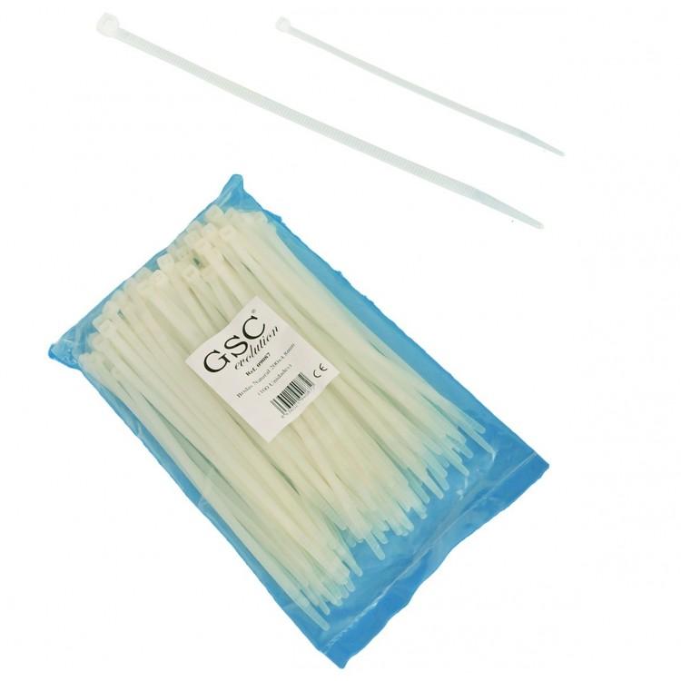 Borsa da 100 fascette stringicavo 100% nylon 300mm x 4.8mm in colore naturale