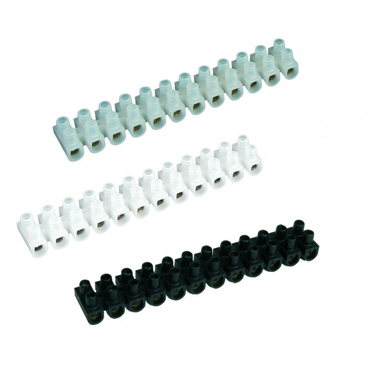 Pack da 10 Morsettiere di collegamento a vite 25mm bianco