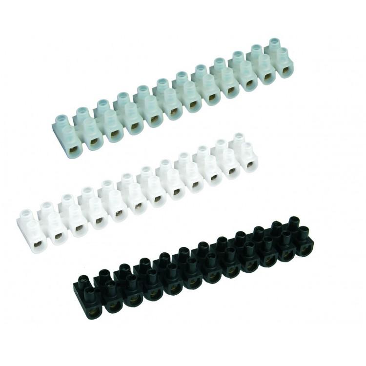 Pack da 10 Morsettiere di collegamento a vite. 10mm bianco