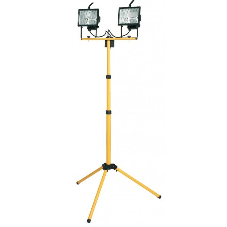 Doppio faro alogeno mobile con treppiede telescopico + cavo per presa 2P + TT laterale