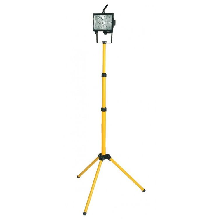 Faro alogeno mobile con treppiede telescopico + cavo per presa 2P + TT laterale