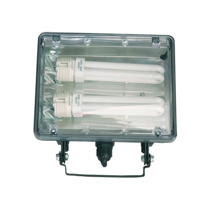 Faro orientabile a basso consumo, PL 2 x 26W, 230V - IP44 uso esterno, color nero