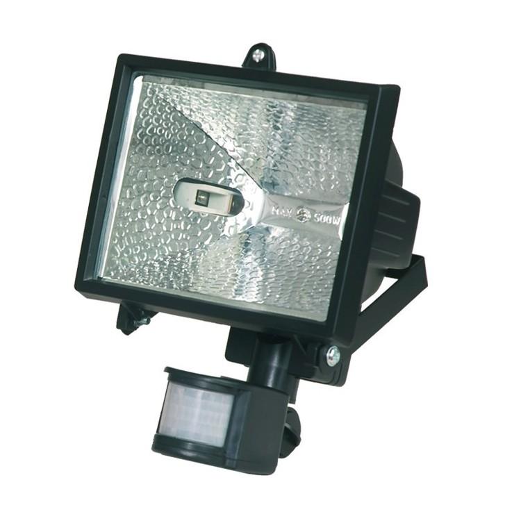 Faro alogeno orientabile con sensor di movimento. 500W 230V-IP44, color nero