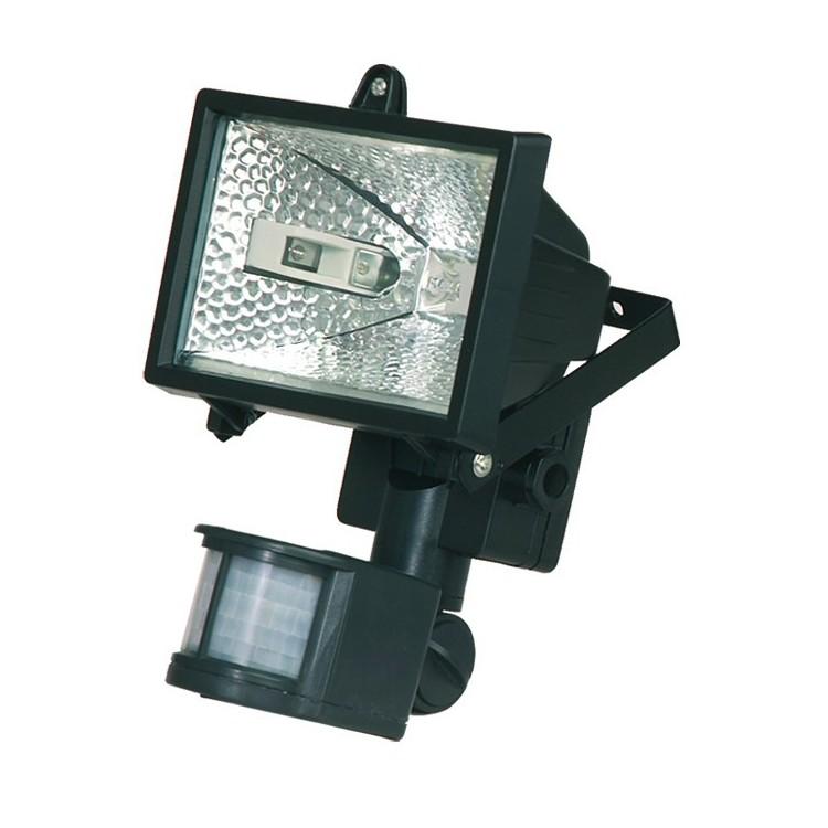 Faro alogeno orientabile con sensor di movimento. 150W 230V-IP44, color nero