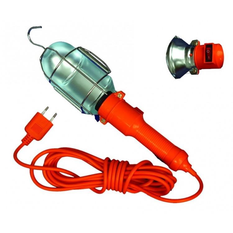 Lampada portatile industriale con schermo in metallo e manico di gomma con gancio Max. 60W / 230 v. 50 Hz. 5 metri