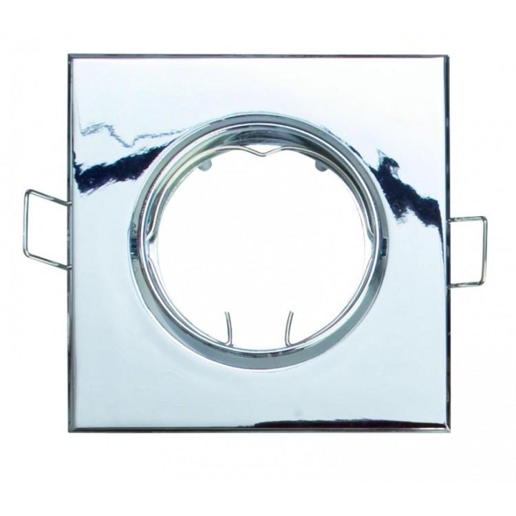 Anello orientabile quadrato da incasso a soffitto per lampada dicroica MR16-12V-50W Max bianco