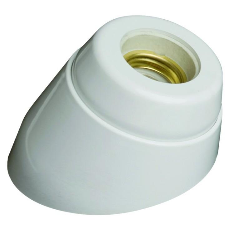 Portalampada E27 bianco in resina e interno di porcellana con base curva